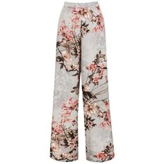 Sans Souci Grey floral print wide leg pants (€25) ❤ liked on Polyvore featuring pants, trousers, grey, grey trousers, gray pants, floral print trousers, pull on trousers and floral wide leg pants