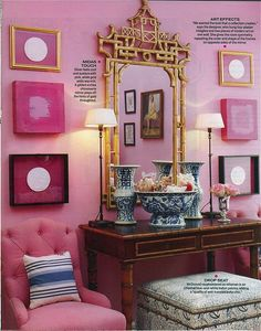 Color Scheme, Marsala, Hot Pink, Navy Stripe and Gold Mary McDonald. Chinoiserie and hot pink. Antiques take on a new life with bold coloration. Chinoiserie Elegante, Mary Mcdonald, Hollywood Regency Decor, Tout Rose, Ideas Hogar, Interior Paint Colors, Purple Interior, Interior Painting, Painting Doors