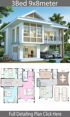 House design plan 98 with 3 bedrooms Modern House Exterior bedrooms design house Plan Sims 4 Modern House, Modern House Floor Plans, Modern House Design, House Floor Design, Sims House Design, Bungalow House Design, Villa Design, Sims 4 House Plans, Dream House Plans