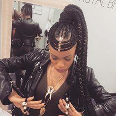 "Blackhair_FlairHAIR (@blackhair_flair) on Instagram: ""@braidsby_trina #hairinspiration #fauxlocs #locs #braids #twists #cornrows """