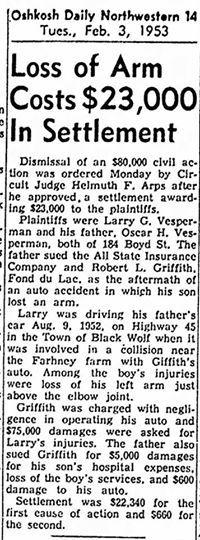article about Uncle Larry Vesperman's accident