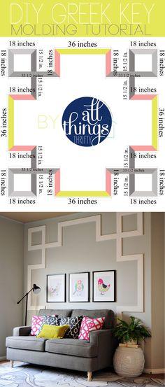 Une idée à prendre pour personnaliser un mur et mettre en valeur des tableaux. L'explication est donnée pour la réaliser. J'aime bien aussi les coussins.