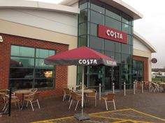 Costa Coffee Branded Parasols by Shades of Comfort Costa Coffee, Coffee Branding, Picnic Table, Outdoor Furniture, Outdoor Decor, Shades, Malta, Morocco, Home