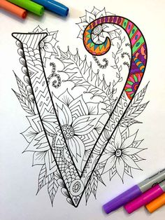 Letter V Zentangle Inspired by the font Harrington von DJPenscript