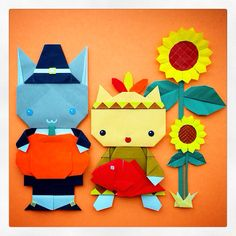 origami: Pilgrim cat & Indian cat sure are thankful for what they have! Happy Thanksgiving <3 :)
