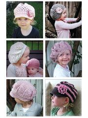 Seven modern designs to crochet! Stitch these adorable hats made using DK, light, fingering and worsted weight yarns. Sizes include newborn, 3-12 mo, 1-3 yrs, 4-10 yrs, pre-teen and adult ladies.