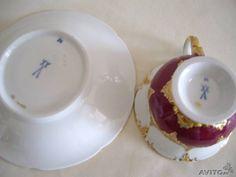 Кофейная пара, пурпур, Мейссен, Германия, 1924-34г купить в Москве на Avito