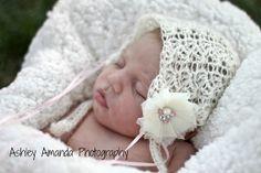 Ravelry: Olivia lace bonnet pattern by Anotinette Scott