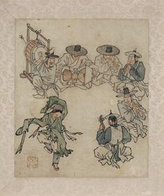 춤추는 아이 <단원 풍속도첩> 김홍도 39.7 x 26.7 cm 국립 중앙 박물관  풍속화의 대가인 김홍도金弘道(1745~1806 이후)는 다양한 계층의 서민들을 관찰하여 그들의 일상을 특유의 익살과 해학으로 재탄생시켰다. 음악과 춤이 어우러진 흥겨운 장면을 그린 이 그림에서는 피리 둘, 대금, 해금, 장구, 북으로 구성되는 삼현육각三絃六角의 장단에 맞추어 춤을 추는 무동의 춤사위와 휘날리는 옷자락에서 신명이 느껴진다. 악사들이나 무동 모두가 흥에 겨워 흠뻑 젖어들어 있다. 화면 가운데를 비워둔 것이 이 그림의 특징적인 구성이다. 악사들이 안정감 있게 ′ㄱ′자로 꺾여 배치되어 있고 ′ㄱ′자 중앙의 대각선 쪽으로 떨어진 곳에 무동을 배치함으로써 전체적인 균형과 아울러 중심을 잡으며 깊은 공간감을 연출하였다.  특히 무동의 긴 소맷자락과 휘날리는 띠의 옷 주름이 과감한 필치로 강렬하게 처리되어 있어 신명나는 춤사위가 잘 표현되고 있으며, 들어 올린 발끝에서도 한국 무용 고유의…