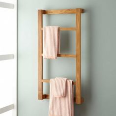 Wulan Teak Hanging Towel Rack - Towel Holders - Bathroom Accessories - Bathroom Best Picture For tow Towel Rack Bathroom, Wood Bathroom, Bathroom Hardware, Bathroom Storage, Towel Storage, Bathroom Closet, Bathroom Small, Closet Storage, Bamboo Bathroom