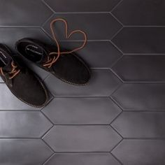 Shop Aliante Black Porcelain Tile part of a dynamic series of elongated porcelain hexagons that are suitable for wall and flooring installations. Available in 4 versatile colorways. Black Bathroom Floor, Black Tile Bathrooms, Hexagon Tile Bathroom, Bath Tiles, Hexagon Tiles, Black Floor, Bathroom Flooring, Master Bathroom, Hexagon Backsplash
