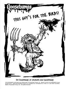 Scholastic Goosebumps Scarecrow coloring page.