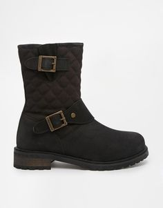 Barbour | Barbour International Gixer Black Quilted Biker Boots at ASOS