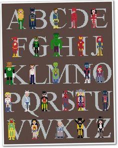A=Aquaman, B=Batman, C=Cyclops, D=Daredevil, E=Elektra, F=Flash, G=Green Lantern, H=Hulk, I=Iron Man, J=Jean Grey, K=Kilowog, L=Logan, M=Martian Manhunter, N=Nightcrawler, O=Oracle, P=Power Girl, Q=Quicksilver, R=Robin, S=Spiderman, T=Thor, U=Union Jack, V=Vision, W=Wonder Woman, X=Professor Xavier, Y=Yellowjacket, Z=Zatanna     $16 for pattern