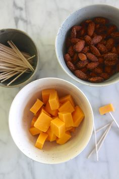 "Healthy Snack: Sriracha Almonds + Sharp Cheddar Cheese. In a snack-time rut? Click through for food ""pairings"" that will spice things up!"