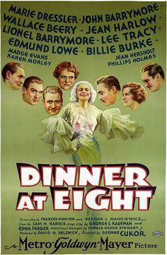 """""""Dinner at Eight"""" - Marie Dressler, John Barrymore, Jean Harlow Movie Poster"""