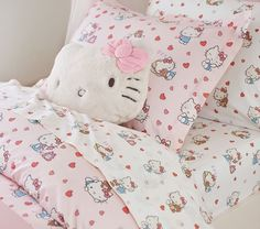 Decorated with Hello Kitty, her teddy bear Tiny Chum and hearts galore, our sheet set pairs super-lovable style with the comfort of organic cotton. Hello Kitty House, Hello Kitty Decor, Hello Kitty Stuff, Hello Kitty Kitchen, Hello Kitty Items, Hello Kitty Collection, Aesthetic Rooms, Aesthetic Indie, Twin Sheet Sets