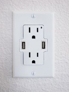 By Chris Scott Barr How many gadgets do you have that recharge via USB? Read more Add USB Ports To Your Wall Outlets Home Design, Web Design, Interior Design, Design Ideas, Br House, House Tent, Wall Outlets, Kitchen Outlets, My New Room