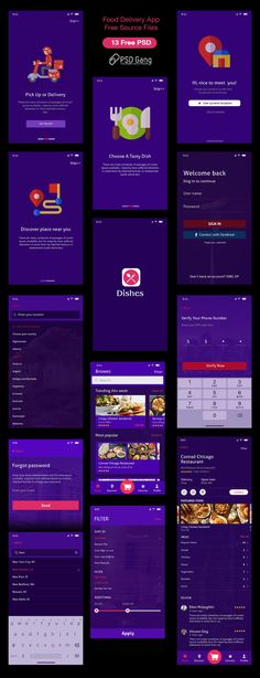 Food delivery near me Mobile UI PSD (Dark Theme)