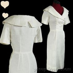 PinupDresses.com Vintage 40s 50s Cream Linen Collar Sheath Pinup Dress XS #Vintage