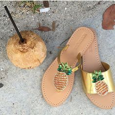 Our Favorite #Pineapple leather sandals 2015 #coconut #miami #beach