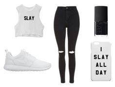 """""""like this set if you slay"""" by makaylas88 ❤ liked on Polyvore featuring Topshop, NIKE and NARS Cosmetics"""