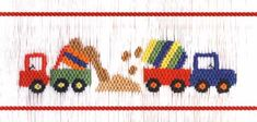 """Smocking Plate OR Kit """"Construction Zone"""" by Frances Messina Jones Smocking Plates, Smocking Patterns, Embroidery Patterns, Hand Embroidery, Stitch Patterns, Design Plat, Sewing Crafts, Sewing Projects, Kid Styles"""