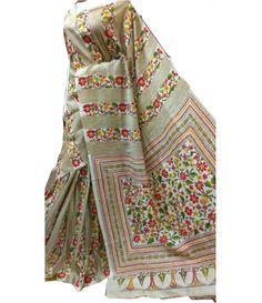 Cremish Silk saree-multi colour kantha work