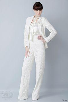 bridal pant suit.
