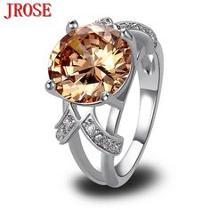 JROSE Wholesale Classic Created Morganite & White CZ Silver Plated Ring Size 6 7 8 9 10 11 12 13 Women Fashion Jewelry Wedding
