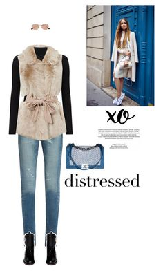 """Distressed-ly Chic."" by axel-lewi ❤ liked on Polyvore featuring Yves Saint Laurent, Valentino, Miss Selfridge, xO Design, Chanel and Ray-Ban"