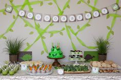 Andrew's Dinosaur Birthday Party: GREAT party games/activity ideas in this post!  | Annie's Eats  {printables, favor bags and striped food cups from TomKat Studio}