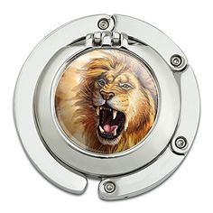 Graphics and More Lion Roar Big Cat Safari Foldable Table Bag Purse Caddy Handbag Hanger Holder Hook with Folding Compact Mirror