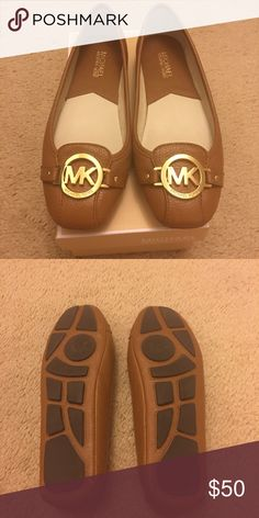 Michael Kors Fulton Moc Flats Michael Kors Fulton Moc Flats in the color luggage with gold hardware. In good condition. There are a few marks on the bottom of the shoes. Runs small. Michael Kors Shoes Flats & Loafers