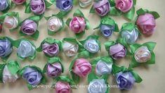 Kanzashi. Мастер класс  Бутоны Роз в Букет Шар    Ribbon Rose, Bouquet B...