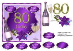 80th Birthday card topper with wine  glasses and flowers on Craftsuprint - View Now!