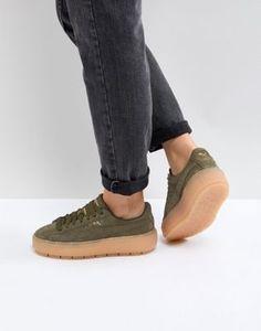 Puma Platform Trace Sneakers In Khaki