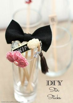 Make your own drink stir sticks with this easy DIY. Create an array of one-of-a-kind accents for your cocktail glass! Diy Wedding Favors, Handmade Wedding, Wedding Decorations, Diy Wedding Inspiration, Wedding Ideas, Mezcal Cocktails, Party Punch Recipes, Party Like Its 1999, Drink Stirrers