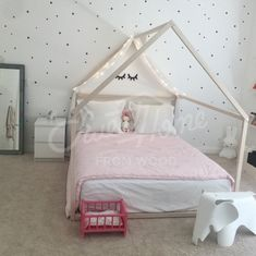 Dreamy white girls room interior ideas, toddler bed, house bed, tent bed, children bed, wooden house, wood house, wood nursery, kids teepee bed, wood bed frame wood house bed