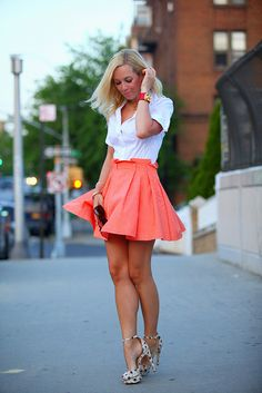 Coral shirt & White blouse!
