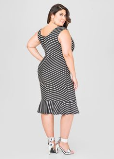 Chevron Flippy Hem Dress - Ashley Stewart