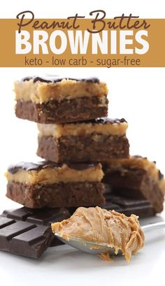 These keto peanut butter brownies are simply magical. Also known as Buckeye Brownies, the fudgy low carb brownie base is topped with a creamy peanut butter fudge and a layer of sugar free chocolate…More 12 Awesome Keto Diet Friendly Dessert Ideas Low Carb Sweets, Low Carb Desserts, Low Carb Recipes, Healthy Recipes, Healthy Foods, Vegetarian Recipes, Keto Brownies, Buckeye Brownies, Sugar Free Brownies