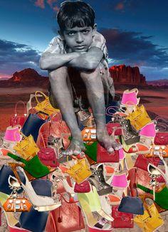 Child labour, fashion landfill, ethical fashion, collage, photoshop