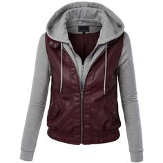 LL Womens Hooded Faux leather Jacket ($9.99) ❤ liked on Polyvore