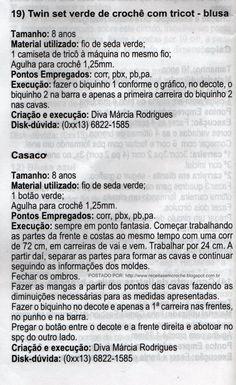 RECEITAS DE CROCHÊ: RECEITA DE TWIN SET VERDE DE CROCHÊ COM TRICOT PARA MENINAS