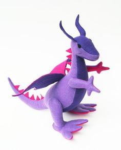 Fantastical Stuffed Dragon, Purple & Pink Plush, 100% Handcrafted from Eco Fi Felt, Magical, Mythical Stuffed Animal Toy, Girl Gift, Fantasy