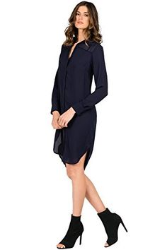 Standards & Practices Women's Long-Sleeved Midnight Navy Blue Shirt Dress Size M