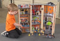 The Harley-Davidson® Wooden Garage Set is a ton of fun for any young child who feels the need for speed. We thought of everything with this set, including detailed artwork and three fancy motorcycles. Enjoy hours playing cars. http://www.sensoryedge.com/harley-davidson-garage-play-set.html
