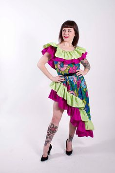 1950s Vintage Dress Calypso Bright Floral Print by stutterinmama, $148.00
