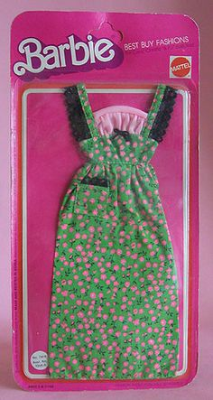 BEST BUY #7416 (1975) (Barbie outfit) Green, pink & black granny dress